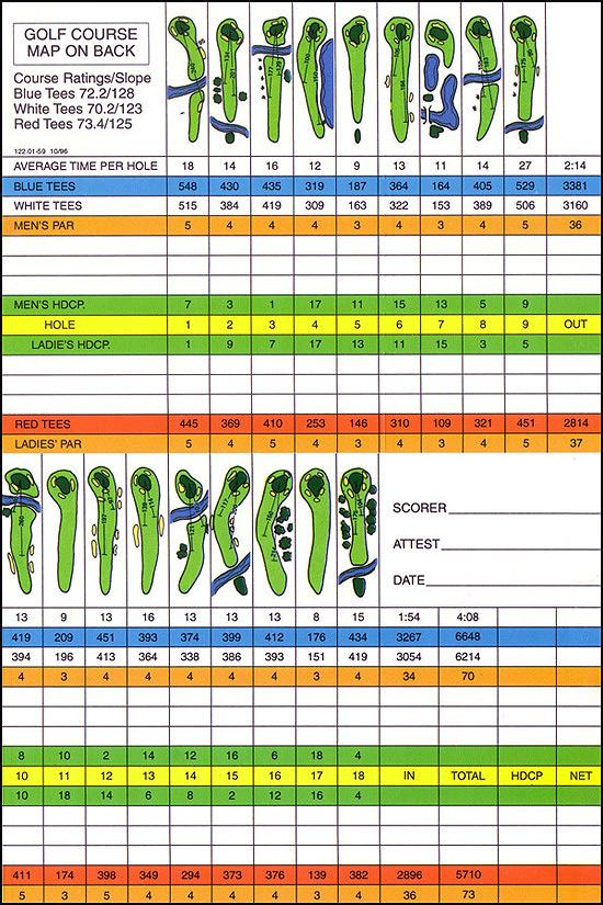 Palmetto Golf Course scorecard